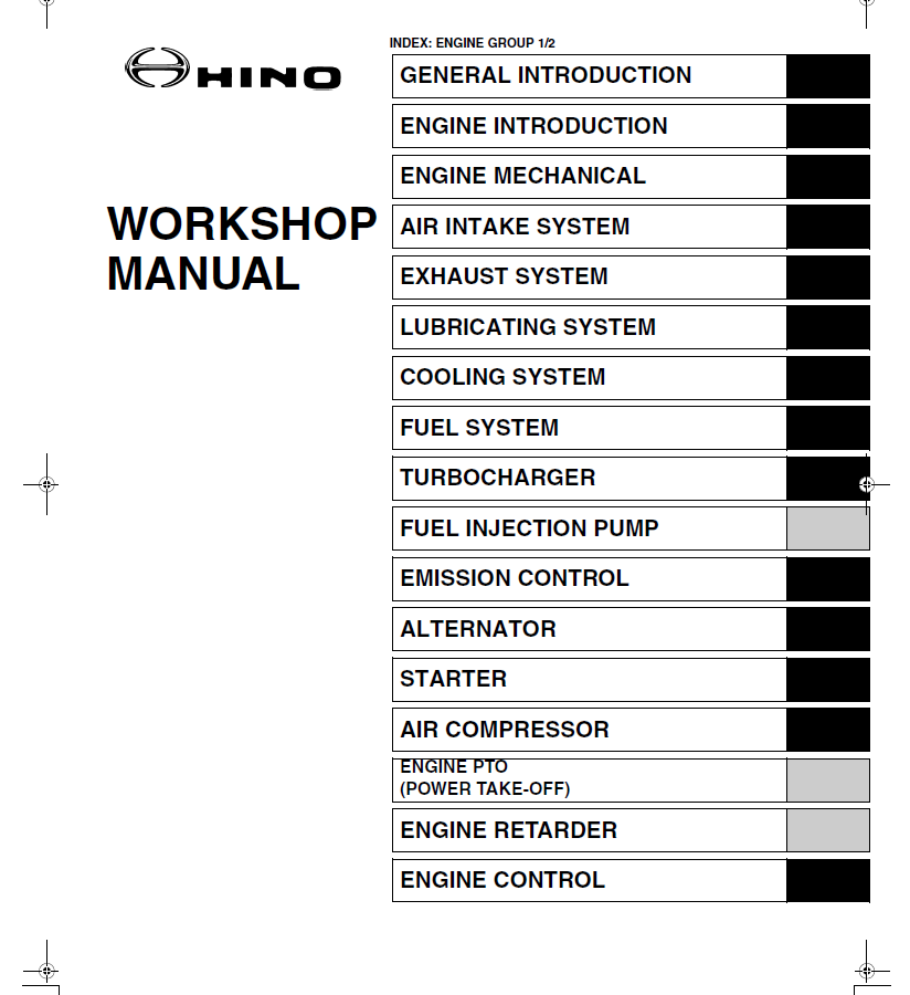 Hino Truck with J05D-TF Engine 2005 PDF Workshop Manual