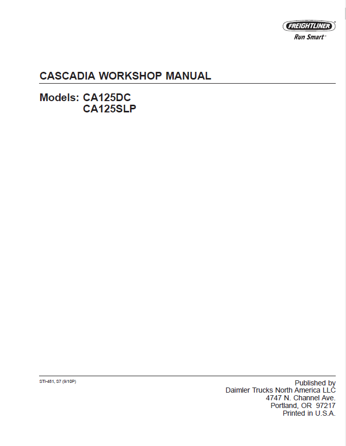 Cascadia Trucks Ca125dc Ca125slp Workshop Manual Pdf