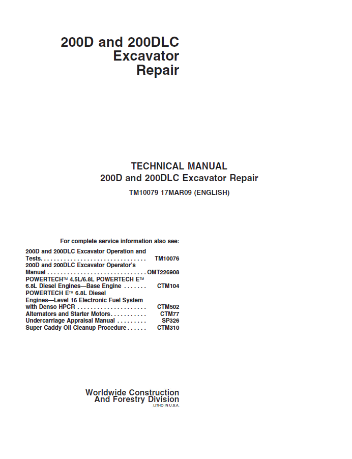 John Deere Excavator 200D and 200DLC TM10079 Technical Manual PDF