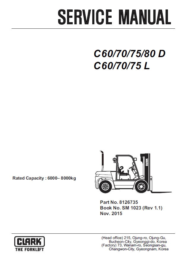 Clark Forklift C60/70/75/80D, C60/70/75L PDF Service Manual