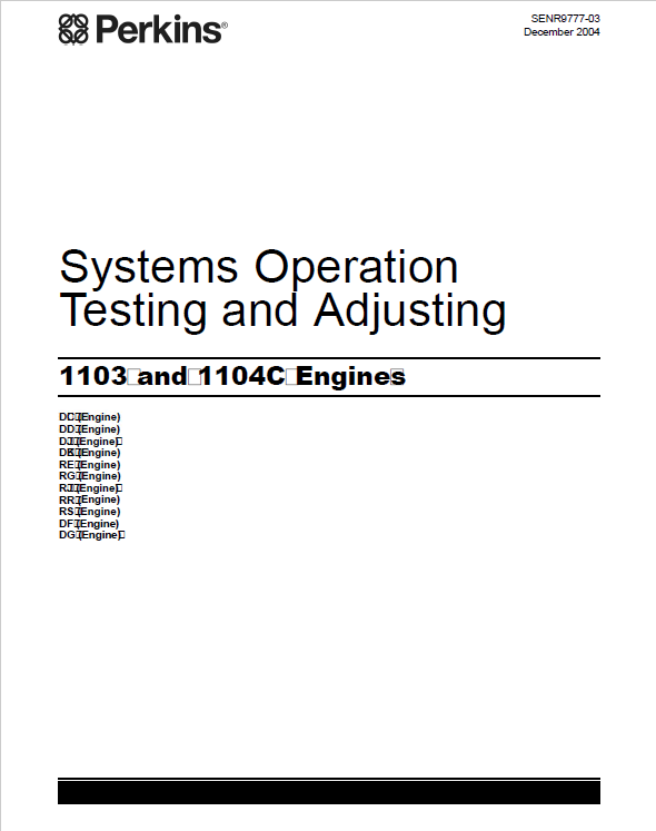 Perkins Engines 1103, 1104C Systems Operation Testing and Adjusting Manual  PDF