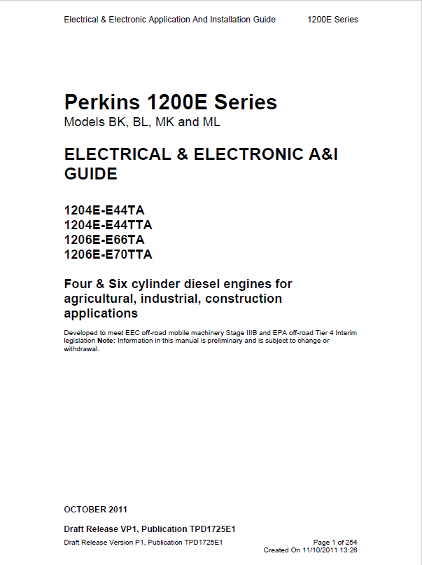 Download Perkins Engines 1200e Electrical Electronic Guide. Repair Manual Perkins Engines 1200e Series Electrical And Electronic Ai Guide Pdf. Wiring. Perkins 4 Cylinder Engines Wiring Diagram At Scoala.co