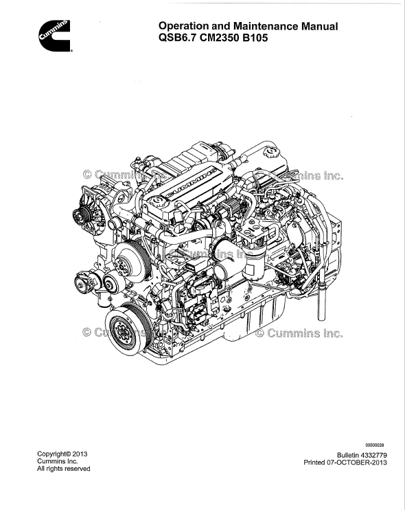 Download    Cummins       Engine    QSB67 Operation Maintenance Manual