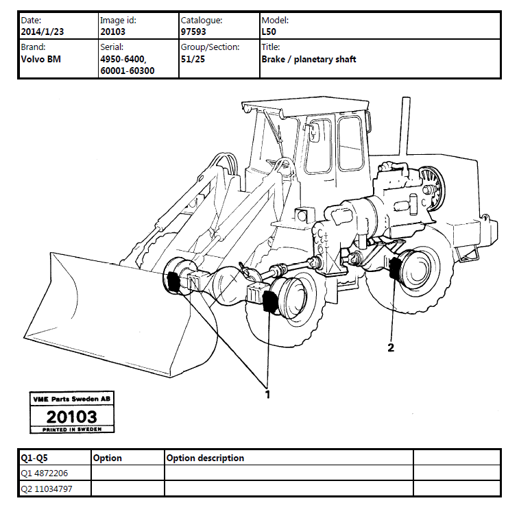 Volvo Bm L50 Wheel Loader Parts And Service Manuals
