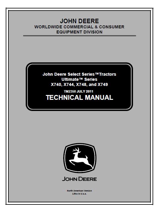 John Deere X740-X749 Tractors Ultimate Series TM2350 PDF | X740 John Deere Wiring Schematic |  | EPCATALOGS