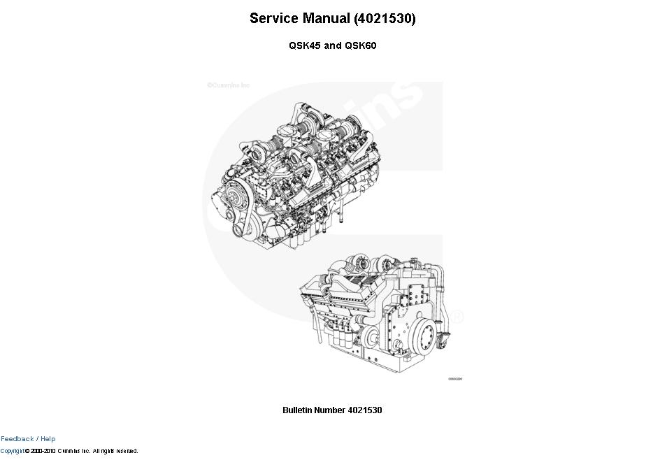 Cummins Engine Qsk45  Qsk60 Service Manual Download