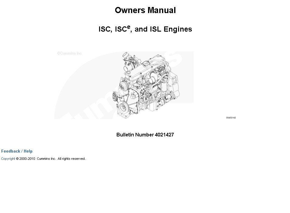 Cummins Isc  Isce  And Isl Engines Owners Manual