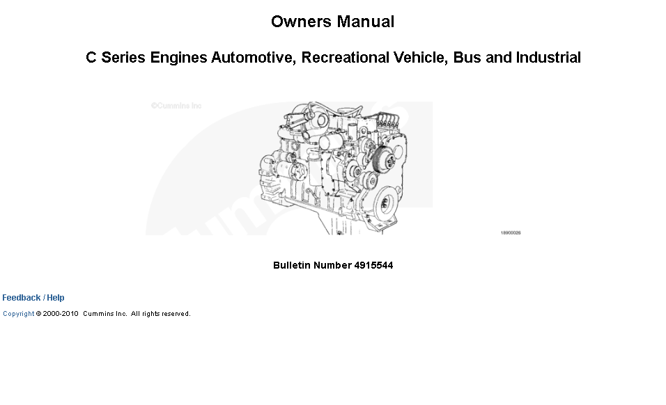 Cummins C Series Engines Owners Manual Download