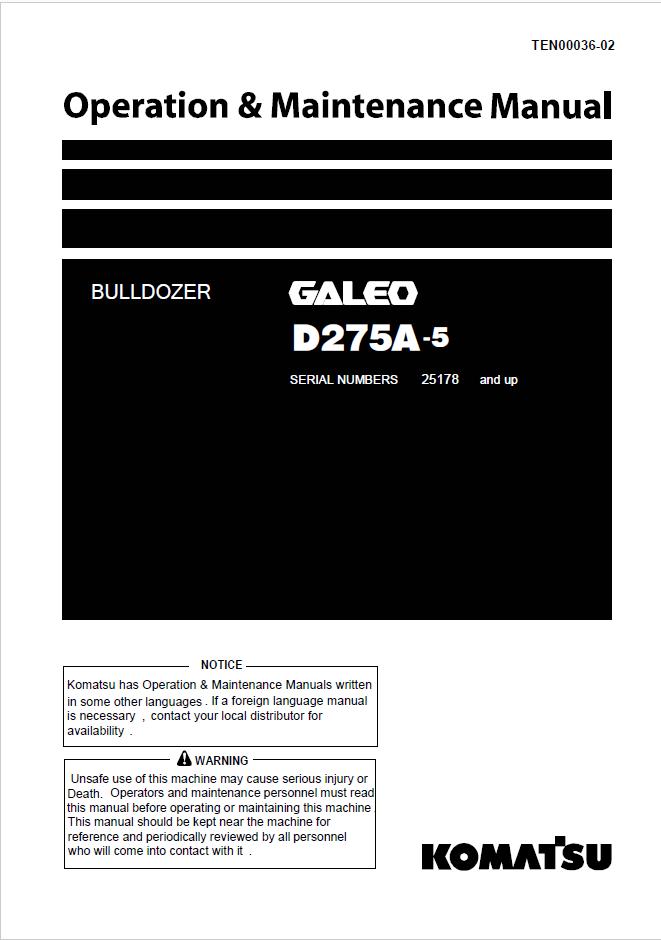 Komatsu Bulldozer D275a
