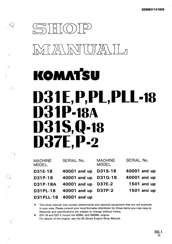 Komatsu Bulldozer D31e P Pl Pll 18a  D31s Q
