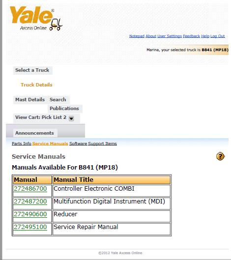 Yale Truck B841  Mp18  Download Pdf Set Of Manuals