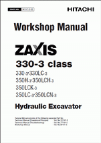 spare parts catalog repair manual Hitachi Service Manual ZX330-3, ZX3503 (ZAXIS)