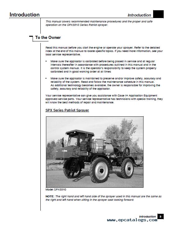 Case Spx3310 Sprayer Operators Manual Pdf Download