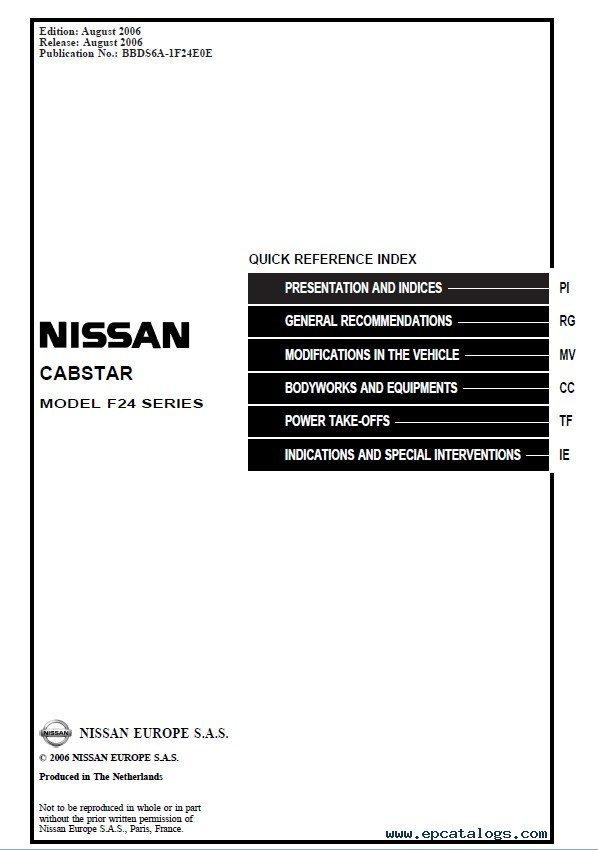 Nissan Cabstar F24 Service Manual Download
