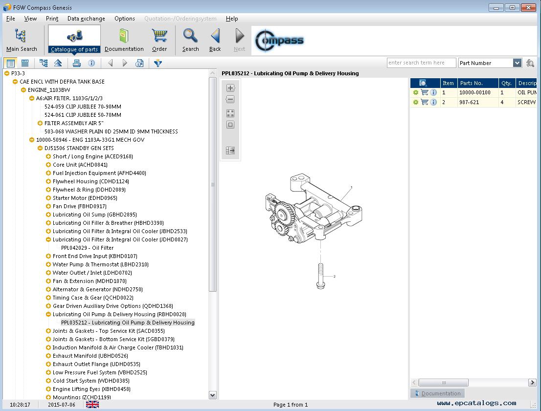 spare parts catalog FG Wilson Compass Genesis 2014A - 7