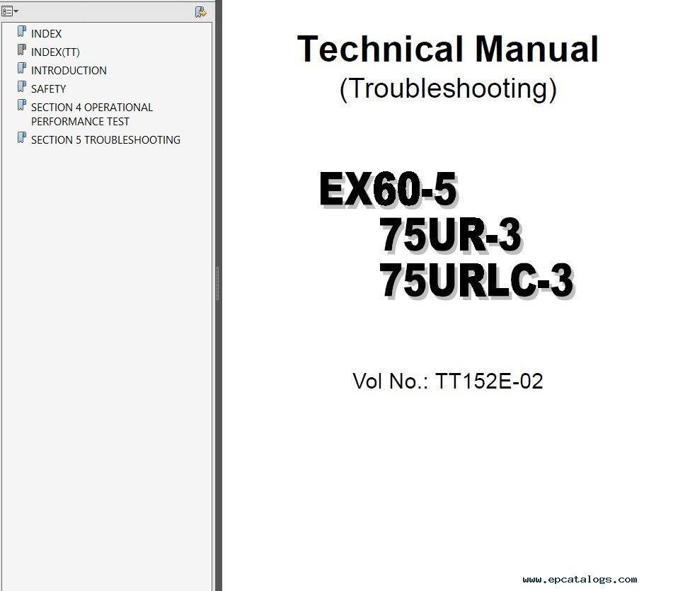 repair manual Hitachi EX-60 - EX-370 Excavators Set of Service Manuals PDF