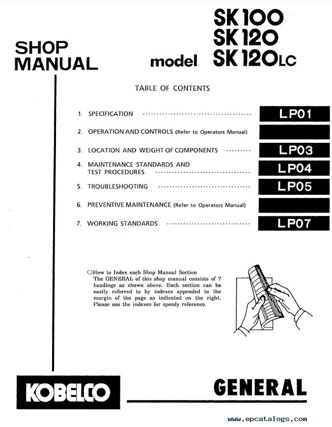 Kobelco SK100 SK120 SK120LC Hydraulic Excavator Shop Manual PDF