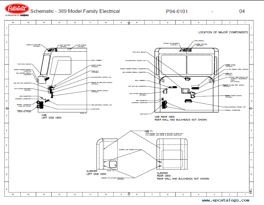 Peterbilt Truck 389 Model Family Electrical Schematic Manual PDF on