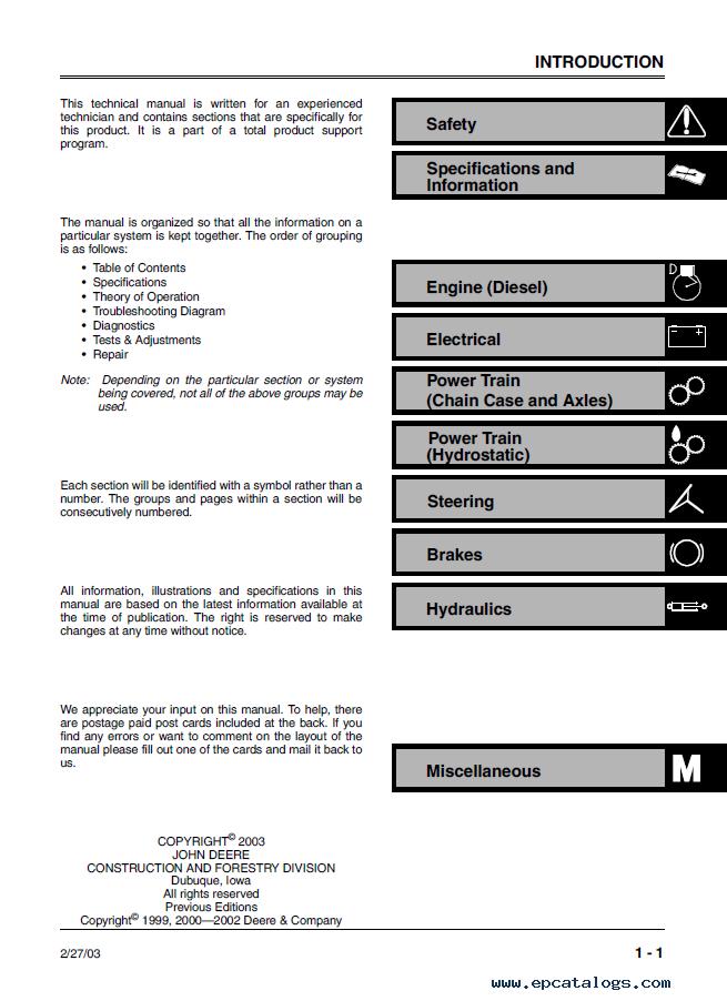 john deere 240 250 skid steer loaders tm1747 pdf manual on john deere  310sg,