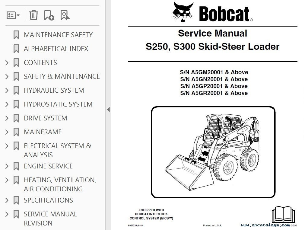 Bobcat S250 S300 Skid Steer Loader Service Manual Pdf