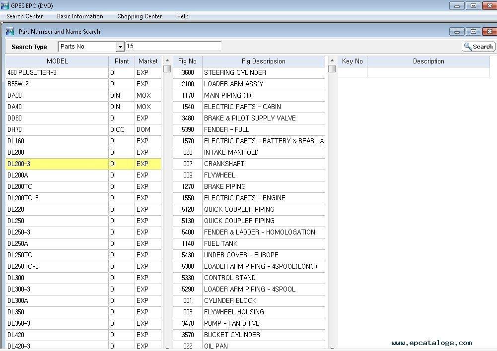 Doosan online parts catalog