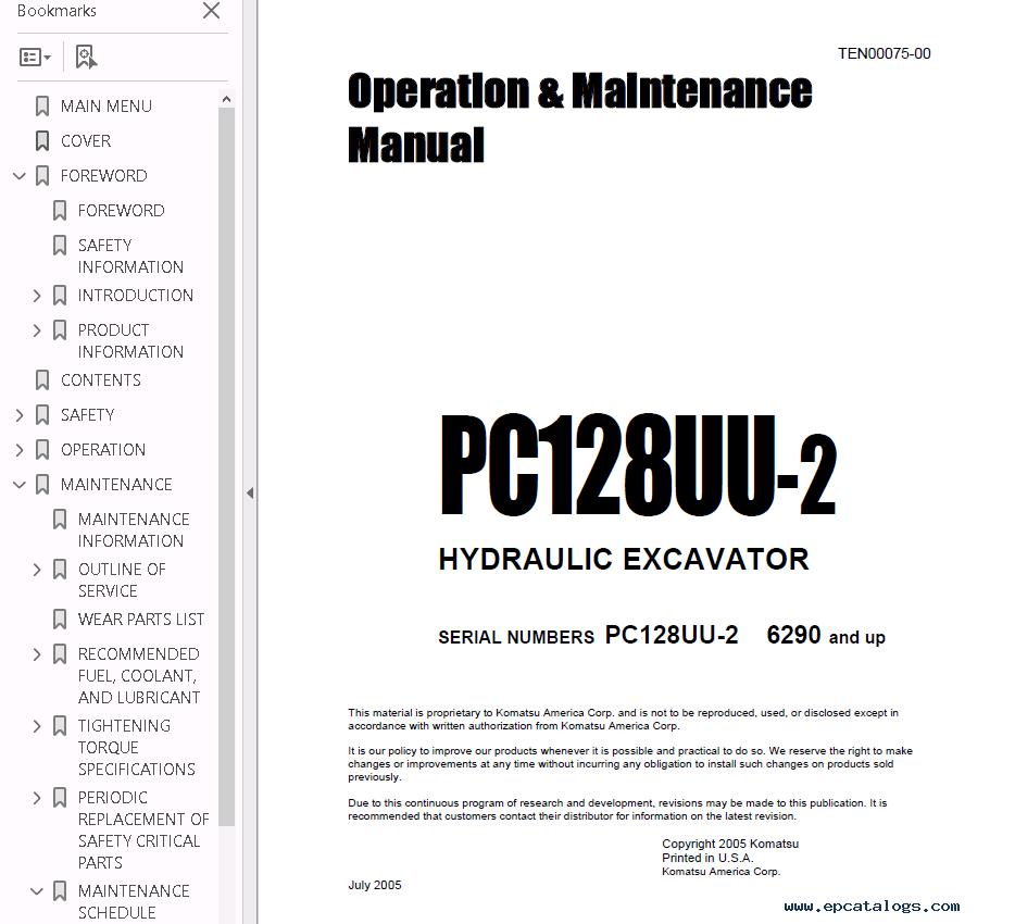 Komatsu Hydraulic Excavator PC128US-2, PC138US-2 PDF Set of Manuals