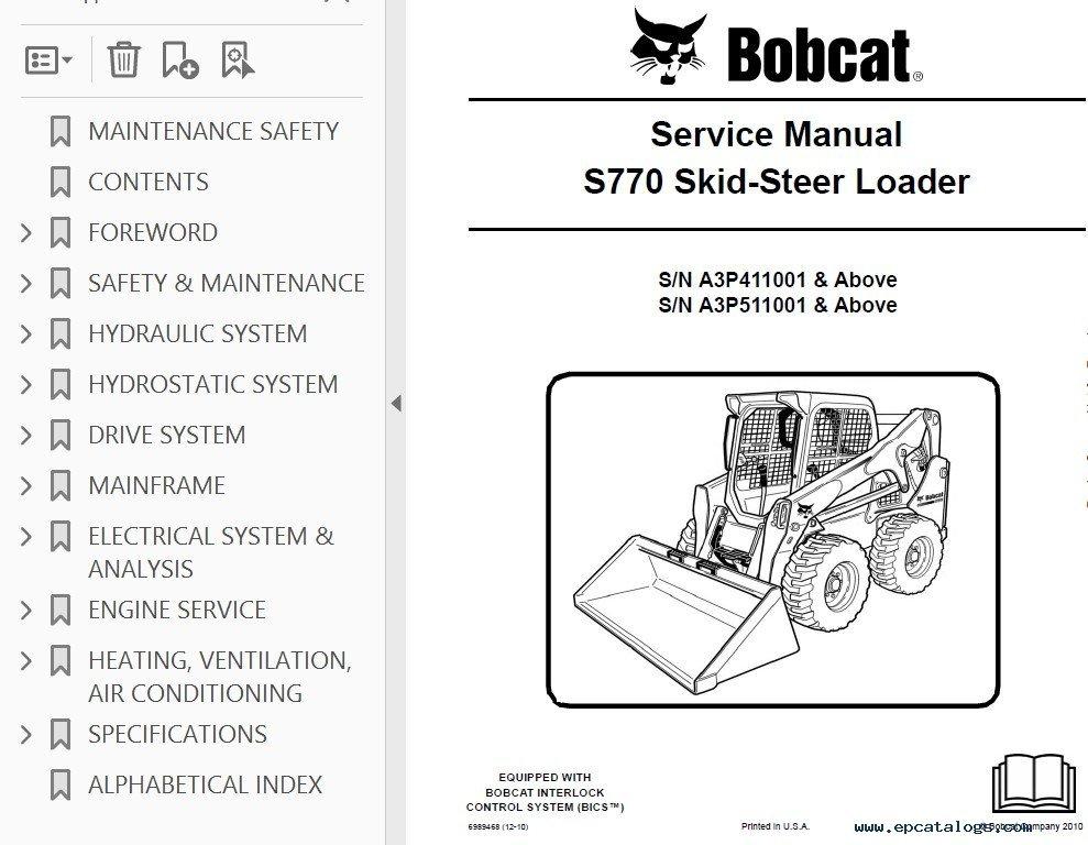 bobcat s770 skid steer loader service manual pdf rh epcatalogs com bobcat s770 service manual pdf Bobcat S750