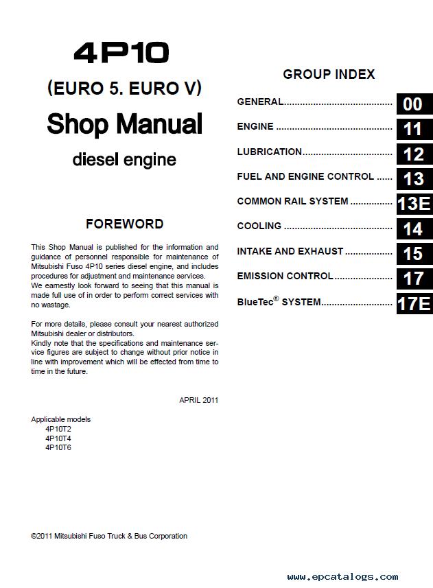 Mitsubishi Fuso Canter EURO 5 Australia Shop Manuals PDF