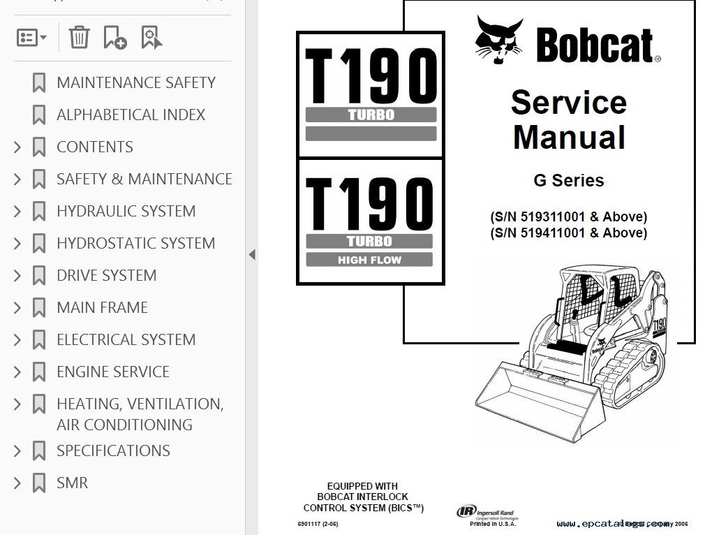 bobcat t190 turbo t190 turbo high flow compact track loader service manual bobcat t190 turbo, t190 turbo high flow compact track loader bobcat t190 wiring diagram at readyjetset.co