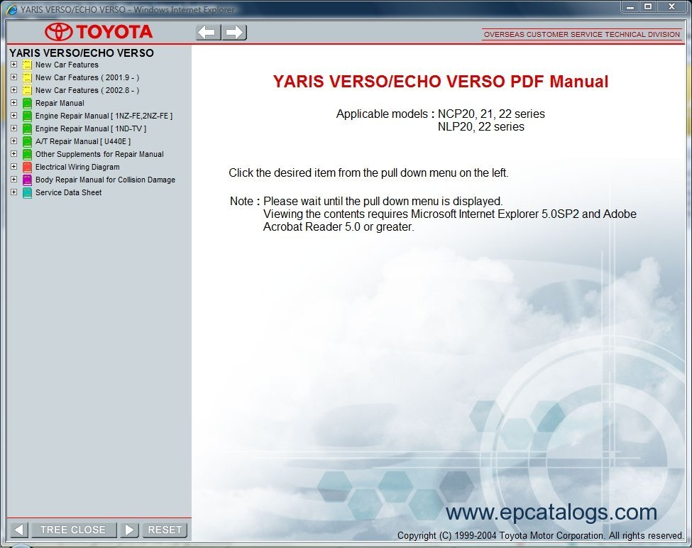Toyota Yaris Verso    Echo Verso  Repair Manual  Cars