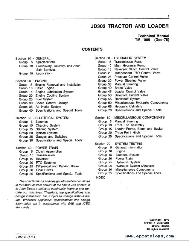 John Deere JD302 Tractor Loader TM1089 Technical Manual PDF – John Deere 302 Wiring Schematic