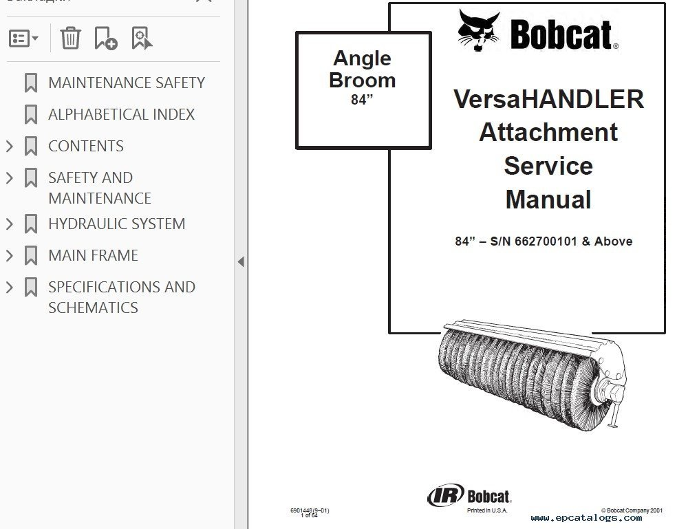 bobcat angle broom service manual pdf