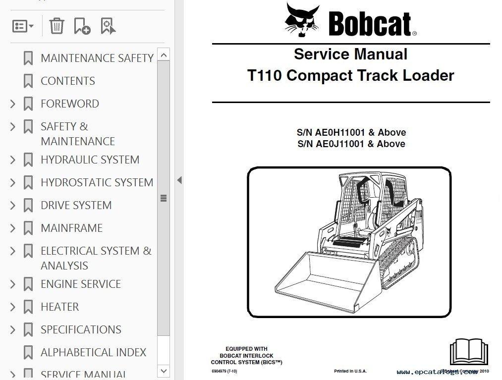 Bobcat T110 Compact Track Loader Service Manual Pdf