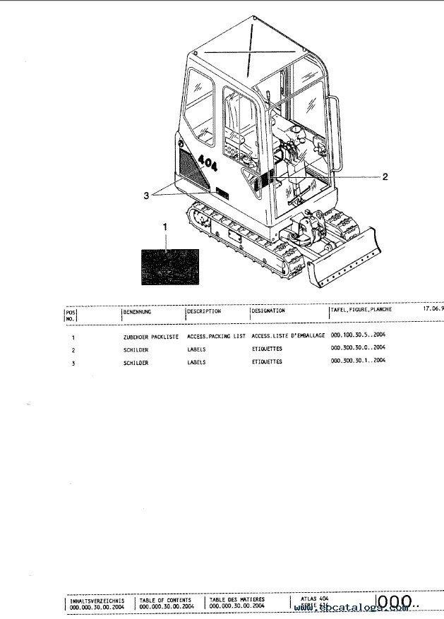 terex atlas excavators set of pdf parts manuals