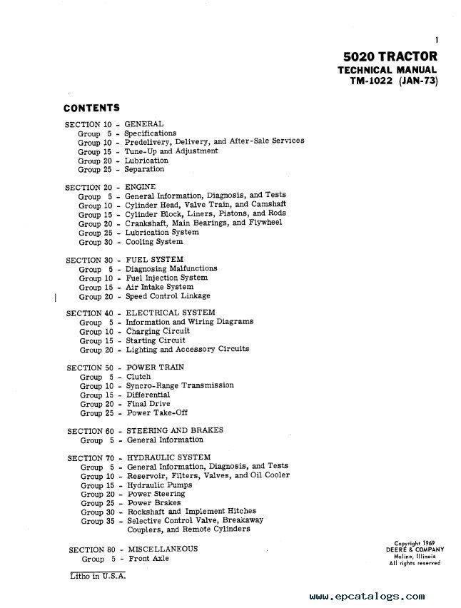 [XOTG_4463]  John Deere 5020 Tractor TM1022 Technical Manual PDF | John Deere 5020 Wiring Diagram |  | EPCATALOGS