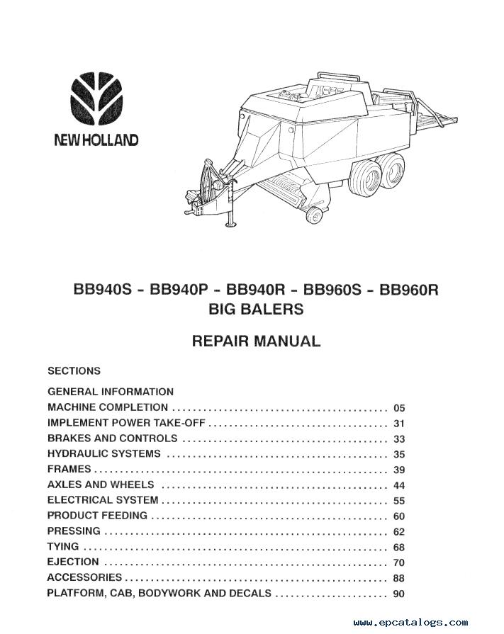 New Holland Big Balers Bb940  Bb960 Download Pdf Repair Manual