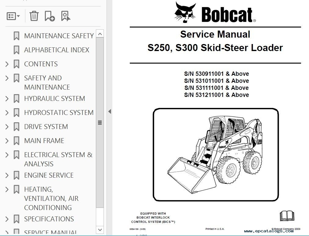 bobcat s250 s300 skid steer loader service manual pdf. Black Bedroom Furniture Sets. Home Design Ideas