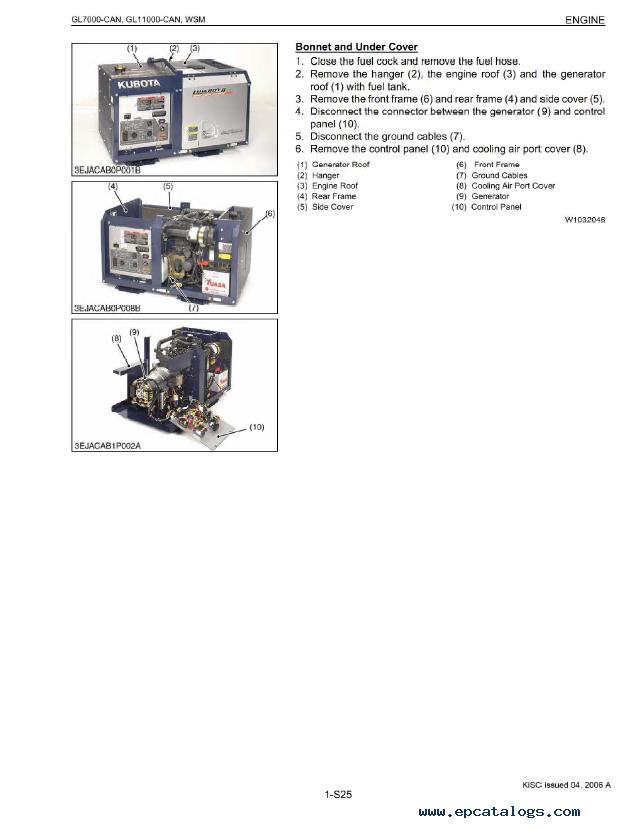 Kubota Gl Can Gl Can Diesel Generator Workshop Manual Pdf