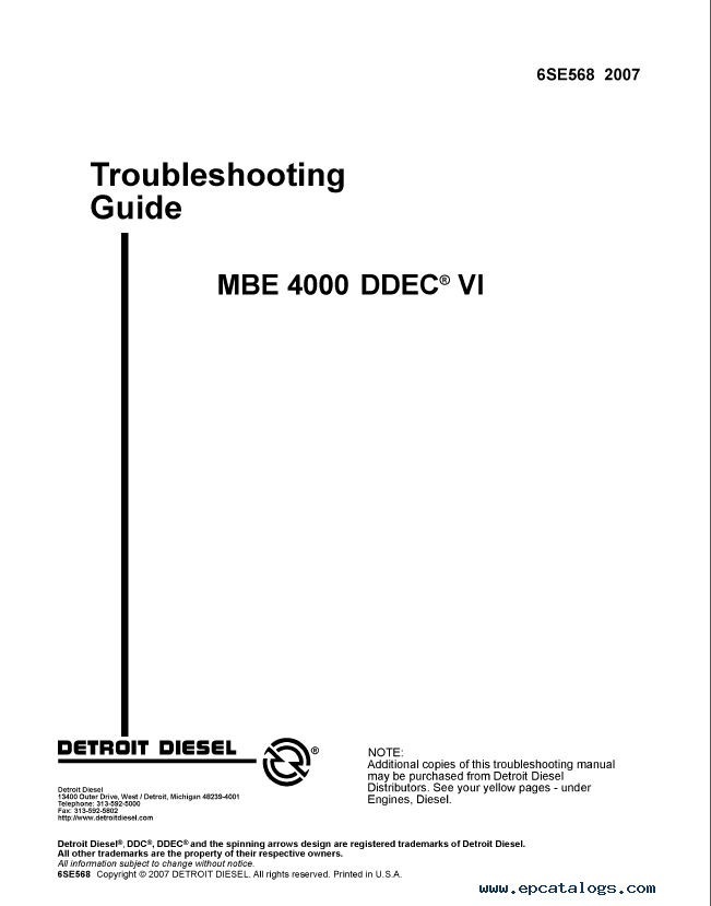 Detroit Diesel MBE Series Set of PDF Manuals