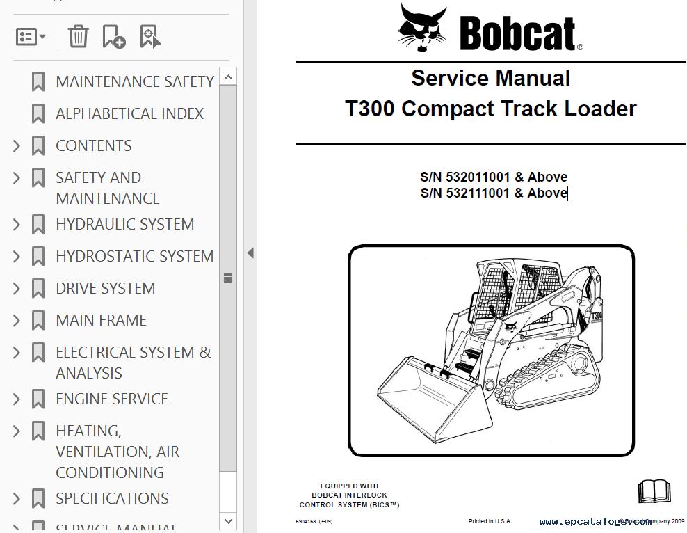 Bobcat T300 Compact Track Loader Service Manual Pdf Download