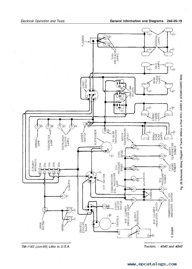 john deere 4640 4840 tractors technical manual tm1183 pdf jd 4640 wiring diagram john deere 4440 wiring diagram \u2022 205 ufc co where is the fuse box on a john deere 4850 at bayanpartner.co