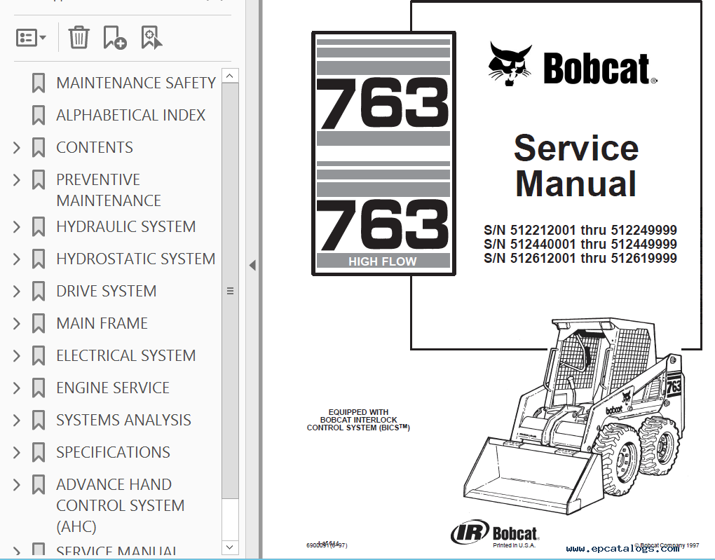 repair manual Bobcat 763, 763 High Flow Loaders Service Manual PDF - 2
