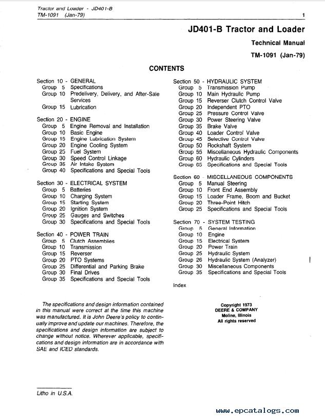 John Deere JD401-B Tractor and Loader TM1091 Technical Manual PDF