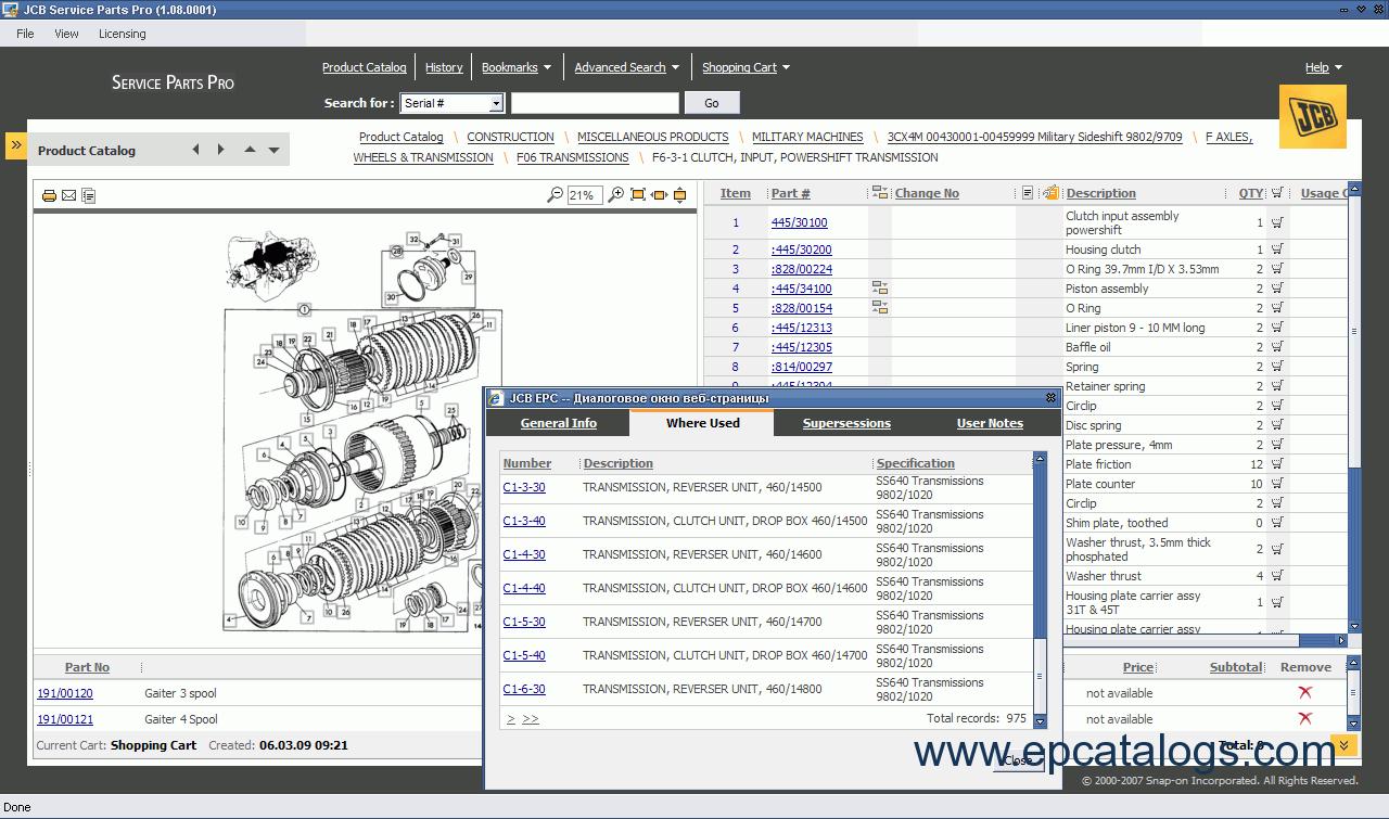 spare parts catalog JCB Service Parts Pro 2009 - 6