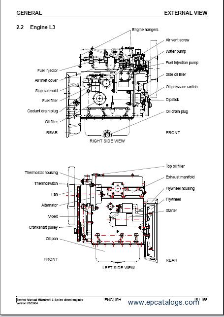 mitsubishi diesel engines l series rh epcatalogs com Mitsubishi Engine S3L2 Parts L3E Mitsubishi Tractor