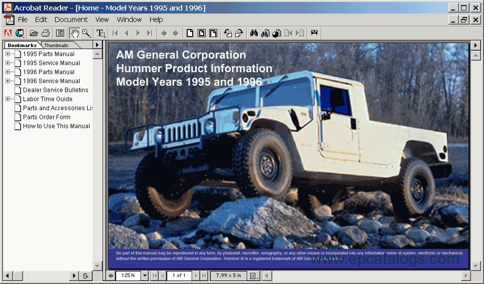 Hummer h1 1995 1996 electronic spare parts catalog repair manual screenshots for hummer h1 1995 1996 sciox Choice Image