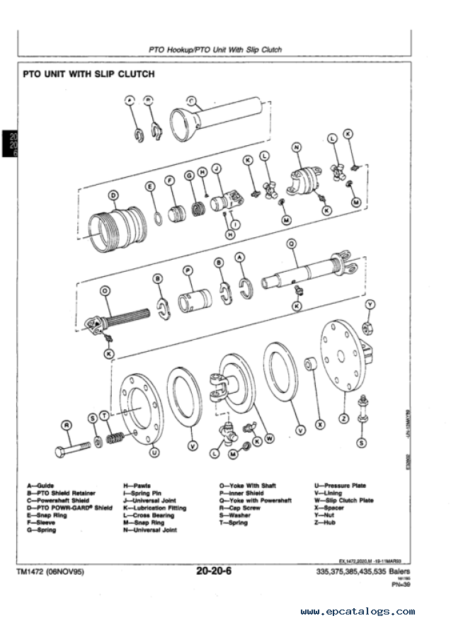 deere 335 375 385 435 535 balers technical manual tm1472 repair manual heavy
