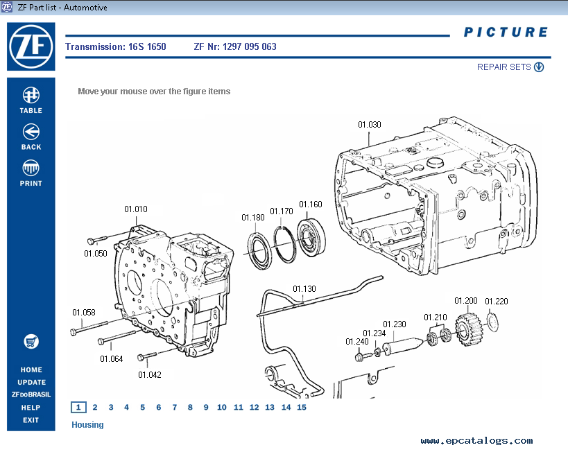Zf gearbox parts list