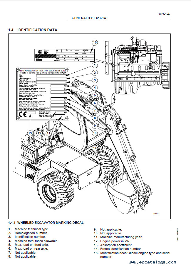 hitachi fiat kobelco excavator  u0026 engine ex165w pdf manual