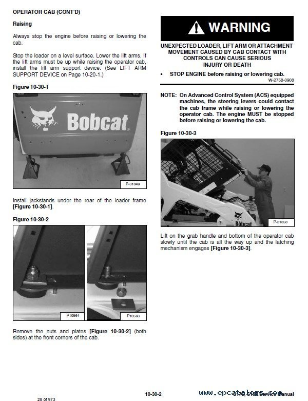 Bobcat S175/S185 Skid Steer Loader Service Manual PDF